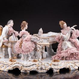 Антикварная композиция из фарфора Элегантное трио, кружевная, Muller & Co, Германия, перв. пол. 20 в.