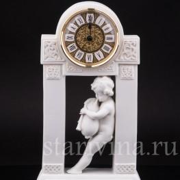 Антикварные часы из бисквита Путти с волынкой, Dressel, Kister & Cie, Германия, нач. 20 в.