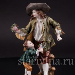 Фарфоровая статуэтка Мужчина с мальчиком, Тюрингия Германия, кон. 19 в., нач. 20 в.